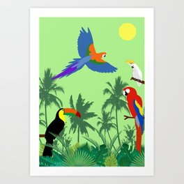 Tropical birds in the jungle (green version) Art Print