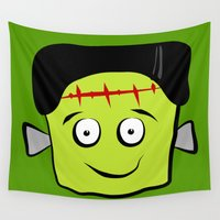frankenstein Wall Tapestries featuring Frankenstein by Jessica Slater Design & Illustration