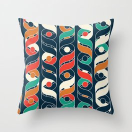Colorful Vintage Geometric Stripes Pattern Throw Pillow