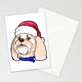 Shih Tzu Dog Christmas Hat Present Stationery Cards