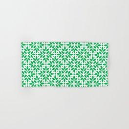 Green Floral Leaf Pattern Hand & Bath Towel