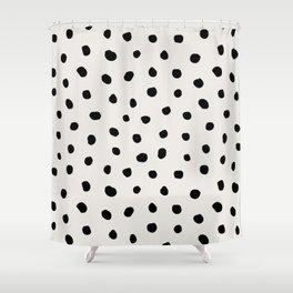 Modern Polka Dots Black on Light Gray Shower Curtain