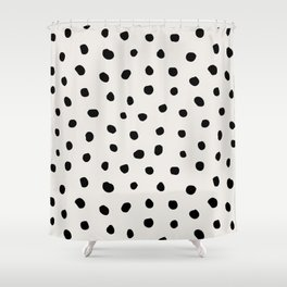 Modern Polka Dots Black on Light Gray Shower Curtain