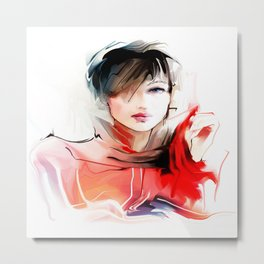 Watercolor Girl V2 Metal Print