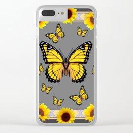 YELLOW MONARCH BUTTERFLIES SUNFLOWER ART Clear iPhone Case