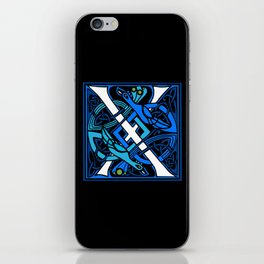Celtic Peacocks Letter X iPhone Skin