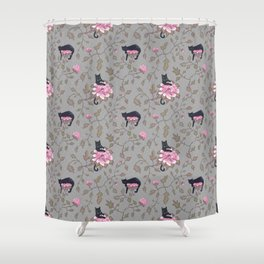 Black cats on flowers Shower Curtain