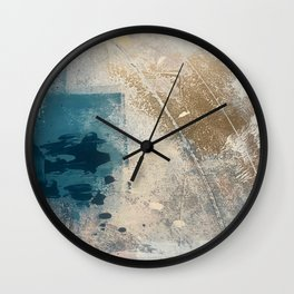 Embrace: a minimal, abstract mixed-media piece in blues and gold with a hint of pink Wall Clock