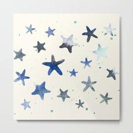 OCEAN BLUE STARFISH PATTERN Metal Print