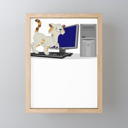 Cat I Work on Computers Laptop Framed Mini Art Print