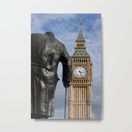 London ... Big Ben and Churchill statue Metal Print