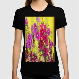 Decorative Yellow Hollyhocks Garden Landscape  T-shirt