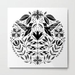 Hummingbird Floral Folk Art - Black Metal Print
