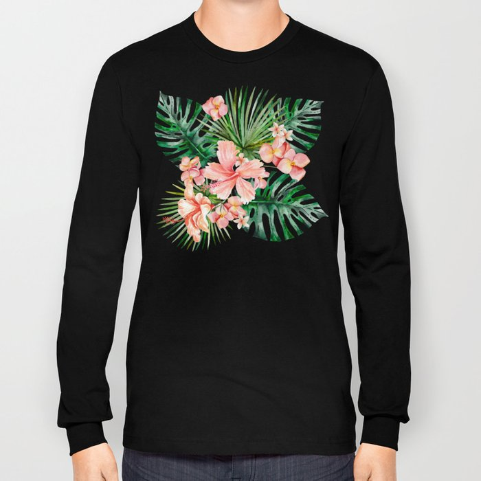 Tropical Jungle Hibiscus Flowers - Floral Long Sleeve T-shirt