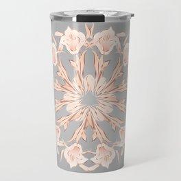 Rose Gold Gray Lilies Mandala Travel Mug