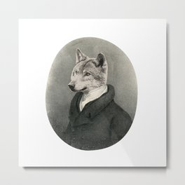 Lithography wolf Metal Print