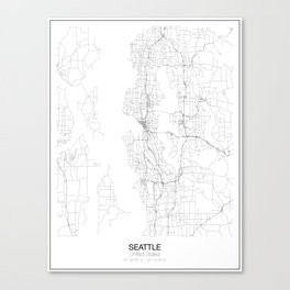 Seattle, United States Minimalist Map Canvas Print