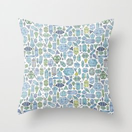 Magical Crystals - Illustration Pattern Throw Pillow