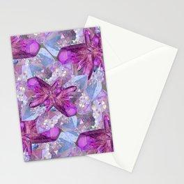 PURPLE AMETHYST & QUARTZ CRYSTALS FEBRUARY GEMS Stationery Cards