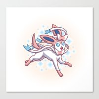 sylveon Canvas Prints featuring Sylveon  by Lara Frizzell