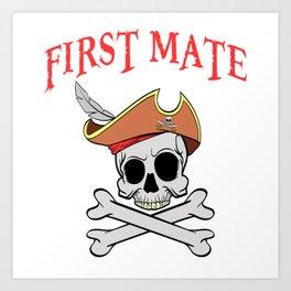 Boney Ship Wreck Skull Pirate First Mate T-shirt Design Spooky Creepy Halloween Scary Ghost Art Print