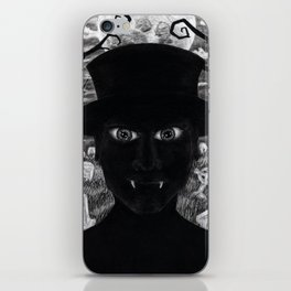 Untitled - charcoal drawing - spooky, ghoul, monster, undead, vampire, halloween, graveyard iPhone Skin