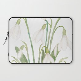 white snowdrop flower watercolor Laptop Sleeve