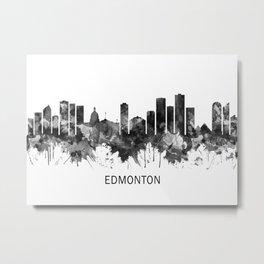 Edmonton Canada Skyline BW Metal Print