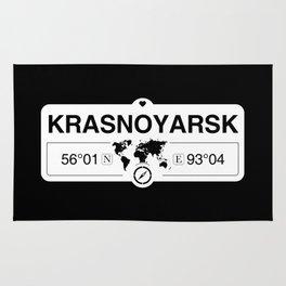 Krasnoyarsk Krai with World Map GPS Coordinates and Compass Rug