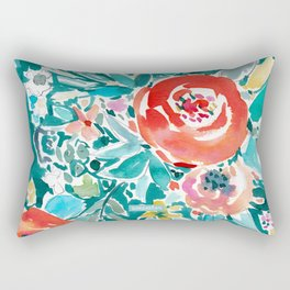 IN FLOW FLORAL Orange Watercolor Rose Rectangular Pillow