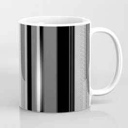 Vertical Stripes # 1 in black, gray and white Coffee Mug