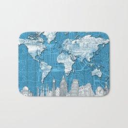 world map city skyline 10 Bath Mat