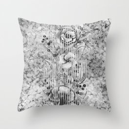 Shades of grey Floral Abstract Throw Pillow