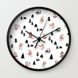 Mountain skiing in alpine chalet snow forest Wall Clock