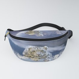 Snow Leopard and Moon Fanny Pack