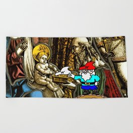 Will the Wandering Gnome Shares a White Hat with Jesus (Gnome Art) (Christmas Art) Beach Towel