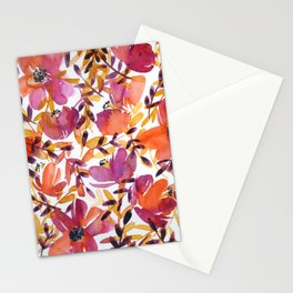 floral pattern: pink and orange Stationery Cards