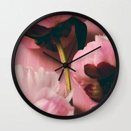 Pink Peony Love Wall Clock