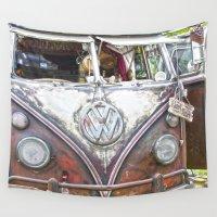 volkswagen Wall Tapestries featuring Surf shark Volkswagen Hippie Bus by Premium