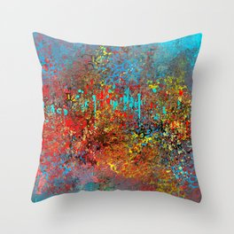 Abstract Painting in Red, Turquoise, Yellow, Black Throw Pillow