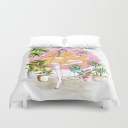 Yoga and Plants Duvet Cover