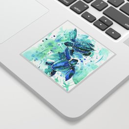Turquoise Blue Sea Turtles in Ocean Sticker