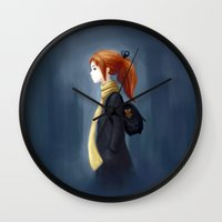 backpack Wall Clocks featuring Rainy Days by Freeminds