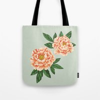 peonies Tote Bags featuring Peonies by A.Vogler