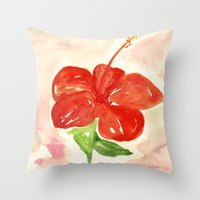 hibiscus Throw Pillows featuring Hibiscus by ladyberula