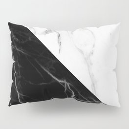 half black half white marble Pillow Sham