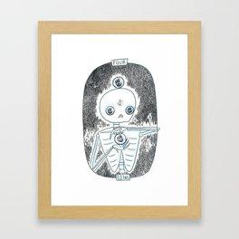 Four of Coins Skeleton Tarot Framed Art Print