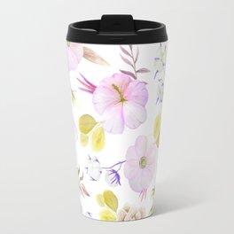 Artist hand painted blush pink lavender watercolor floral Travel Mug