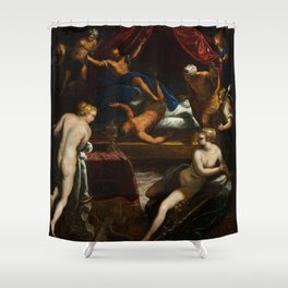 """Tintoretto (Jacopo Robusti) """"Hercules Expelling the Faun from Omphale's Bed"""" Shower Curtain"""