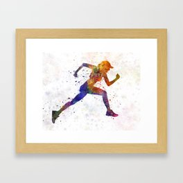 Woman runner jogger running Framed Art Print